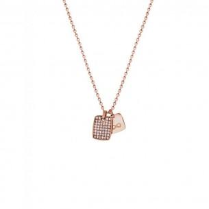 Collier mit Gravurplatte und Unendlichsymbol rosévergoldet, X2575R