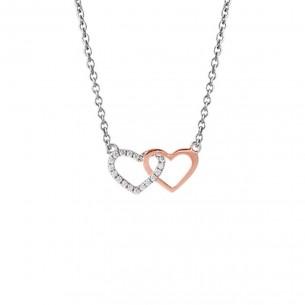 Collier mit Herzen in silber und rosé, XS2921R