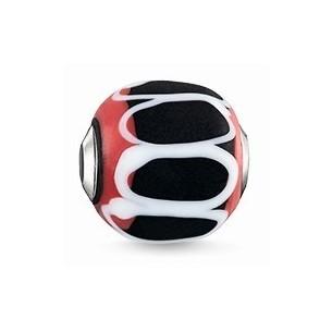 Karma Beads - Glas - rot, schwarz, weiß, K0256-017-11