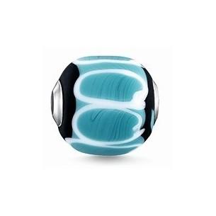 K0255-017-17, Karma Beads - Glas - türkis, schwarz, weiß