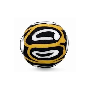 Karma Beads - Glas - schwarz, gelb, weiß, K0254-017-4