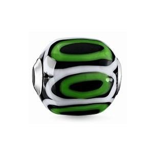 K0253-017-6, Karma Beads - Glas - schwarz, grün, weiß