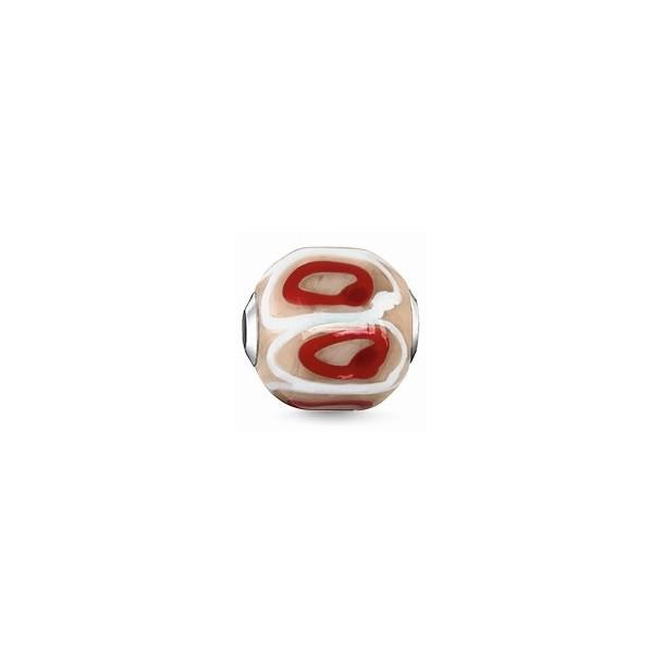 K0252-017-19, Karma Beads - Glas - rot, beige, weiß