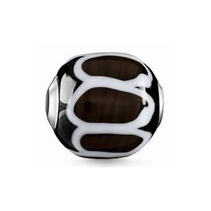 Karma Beads - Glas - schwarz, weiß, K0250-017-2