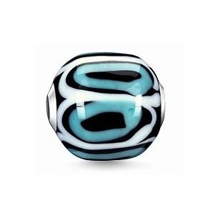 K0249-017-17, Karma Beads - Glas weiß, türkis, schwarz