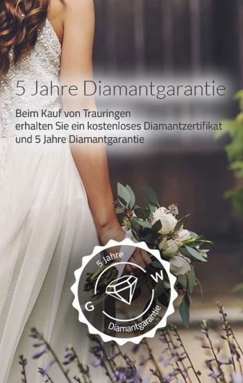 5 Jahre Diamantgarantie beim Kauf von Trauringen und Eheringen